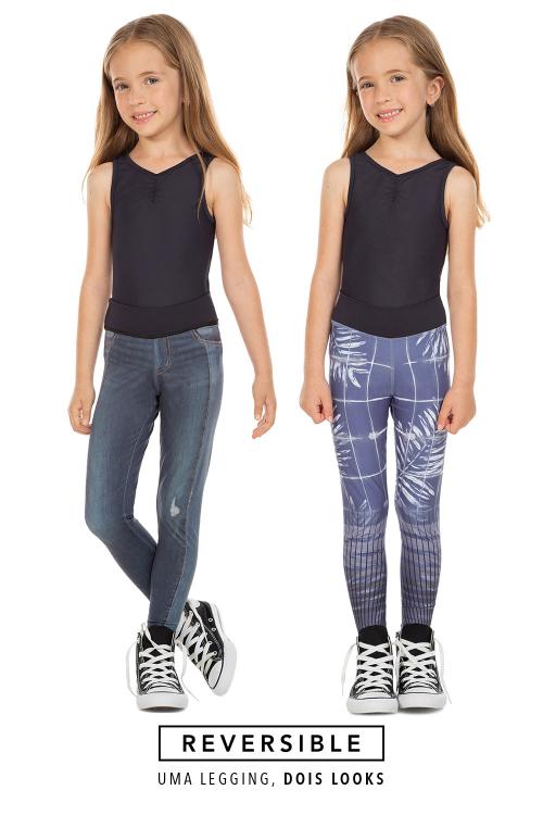 Calça Legging Reversible Jeans Jurerê Kids