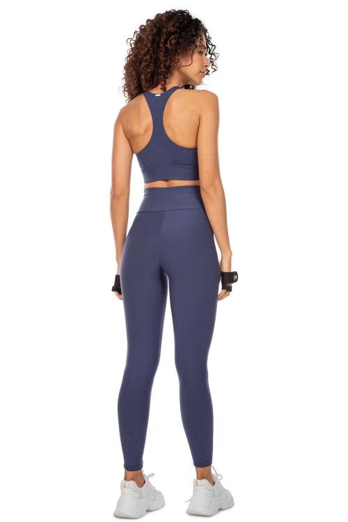 Top Racer e Calça Legging Active Essential Marinho