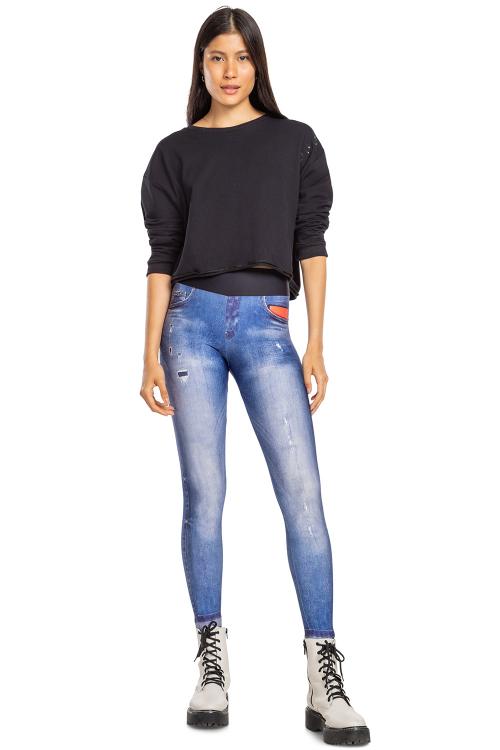 Sweatshirt Comfy Noir Black e Calça Legging Jeans Original