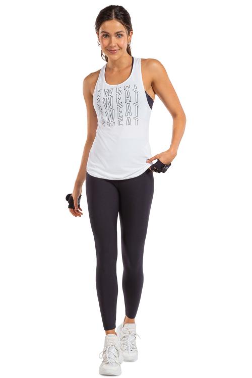 Regata Cool Sweat White e Calça Legging Active Essential Preto