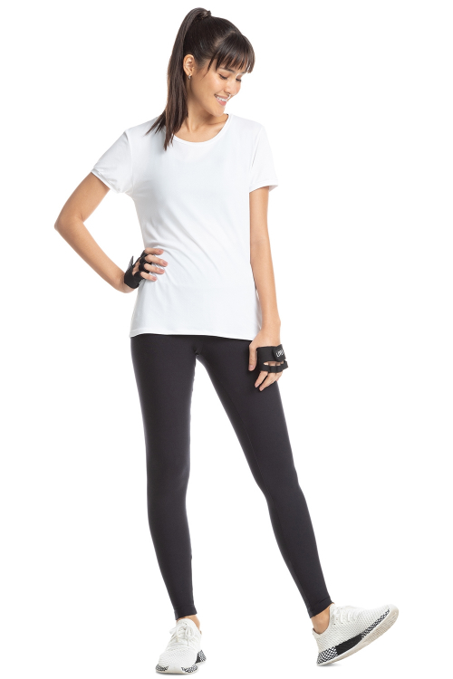Baby Look Comfy Vibe Branco e Calça Legging High Active Essential