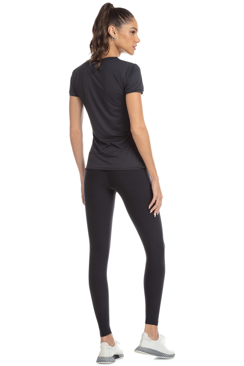 Baby Look Comfy Vibe e Calça Legging High Active Essential Preto