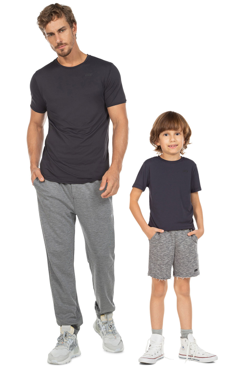 Look Pai e Filho Camiseta Hard Training e Camiseta Reflection Kids Noir Black