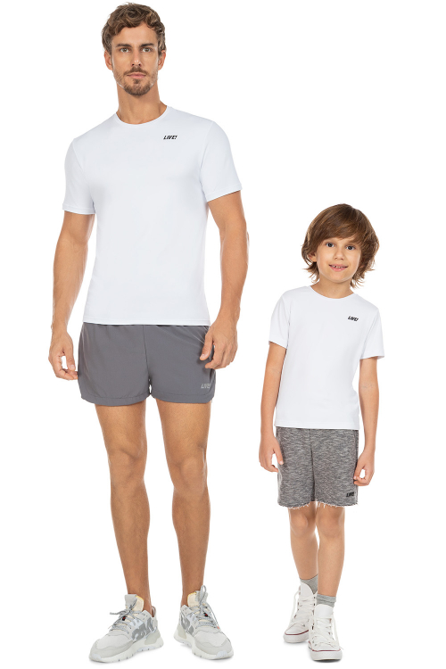 Look Pai e Filho Camiseta Hard Training e Camiseta Reflection Kids White