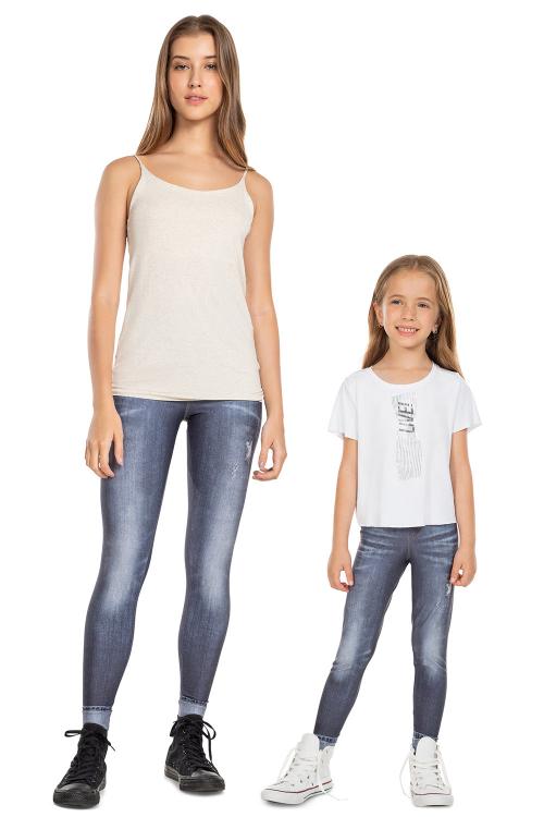 Look Mãe e Filha Calça Legging Jeans Power
