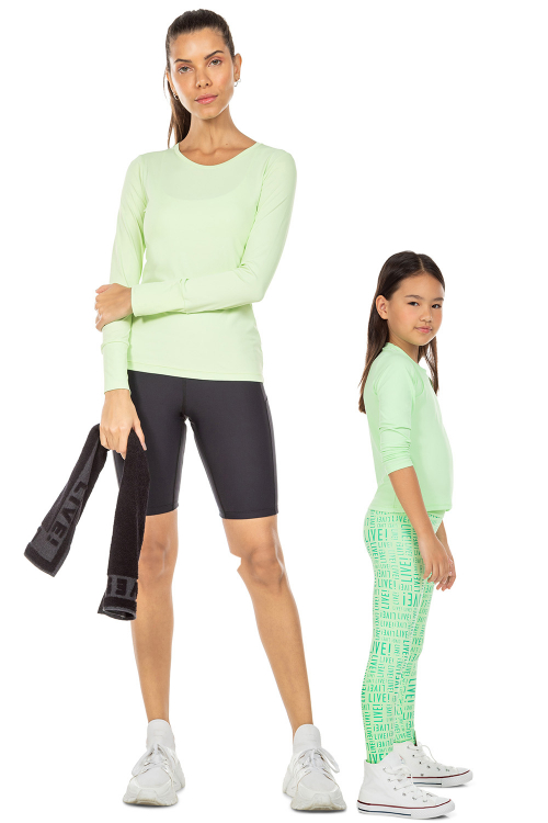 Look Mãe e Filha Blusa Intensity Key e Camiseta Running Kids Fresh Green