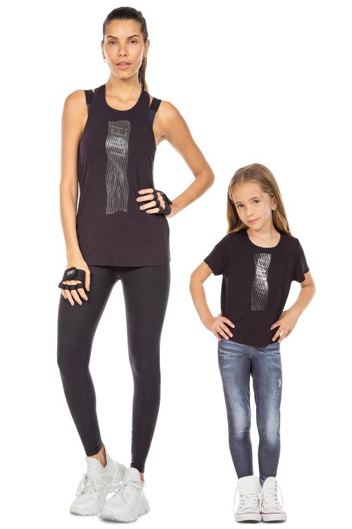 Look Mãe e Filha Regata e Blusa Wavy Noir Black