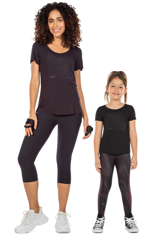 Look Mãe e Filha Blusa Transcend Noir Black