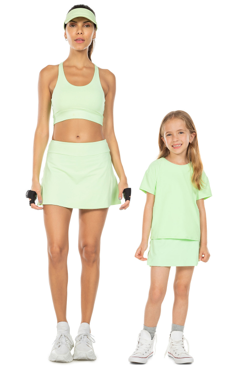 Look Mãe e Filha Saia com Shorts Sense Essential e Saia com Shorts Comfy Fresh Green
